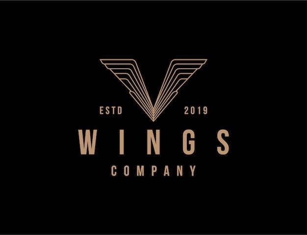 Vintage logo v skrzydło