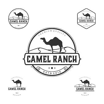 Vintage logo wielbłąda ranczo