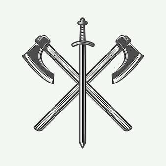 Vintage logo wikingów, godło, odznaka w stylu retro. grafika monochromatyczna. ilustracja wektorowa.