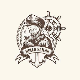 Vintage logo żeglarza