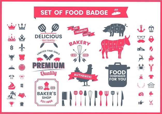 Vintage logo zestaw restauracji