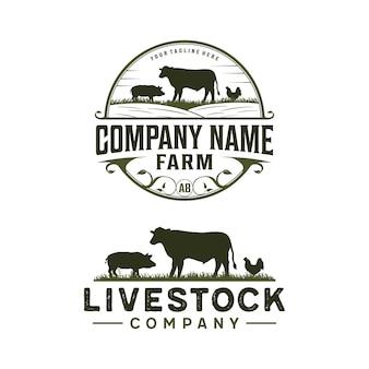 Vintage logo zwierząt gospodarskich z krową, kurczakiem i wieprzowiną