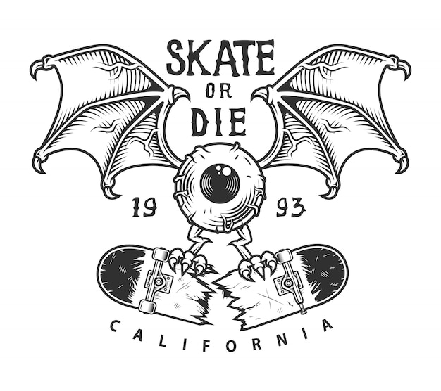 Vintage logotyp na deskorolce