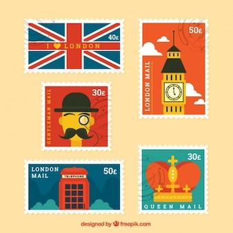 Vintage london znaczki w płaskiej konstrukcji