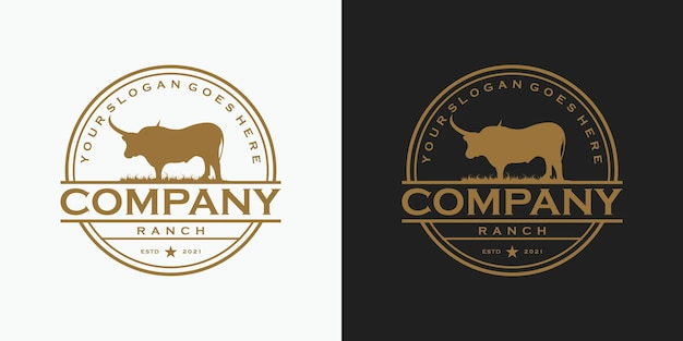Vintage longhorn logo, logo dla rancza i odniesienia do farmy