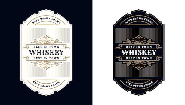 Vintage luksusowa antyczna ramka graniczna whisky grawerowanie zachodnie na etykietę do pakowania whisky z winem piwnym