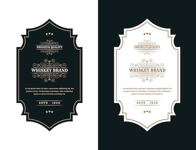 Vintage luksusowe opakowanie ramki etykieta z logo na butelkę alkoholu whisky i napojów