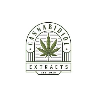 Vintage luxury cbd cannabis marijuana hemp leaf logo