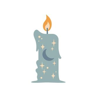 Vintage magia boho świeca z gwiazdami i księżyc na białym tle. płaskie ilustracji wektorowych. projekt karty tarota, wigilia, druk astrologii