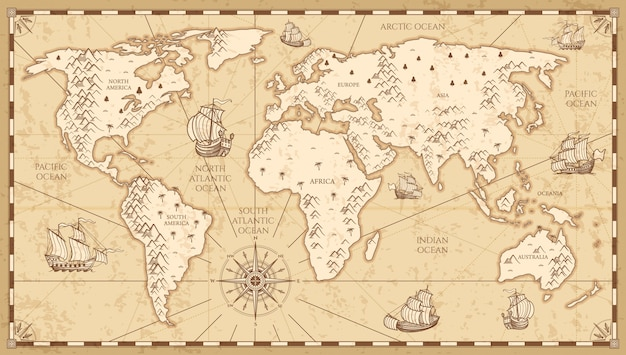 Vintage mapa świata fizycznego z ilustracji wektorowych rzek i gór. retro rocznika stara mapa świata z zabytkowym statku podróży