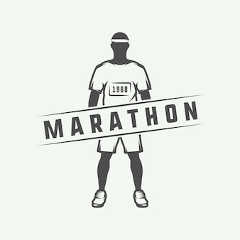 Vintage maraton lub logo biegowe, godło, odznaka, plakat, nadruk lub etykieta. ilustracja wektorowa.