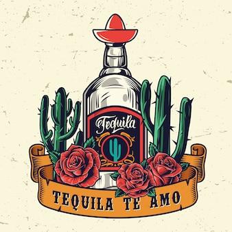 Vintage meksykański kolorowy szablon