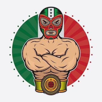 Vintage meksykański zapaśnik projekt