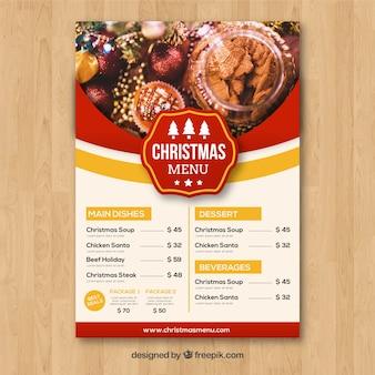 Vintage menu Boże Narodzenie