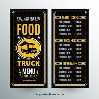 Vintage menu ciężarówek żywności