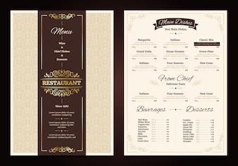 Vintage menu restauracji z ozdobną ramą i wstążką szefa kuchni dania napoje
