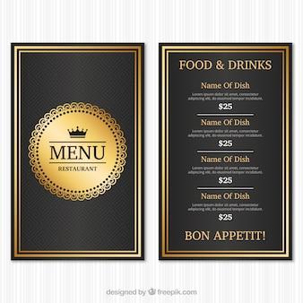 Vintage menu szablonu z złotego stylu