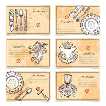 Vintage menu ustaw sztućce