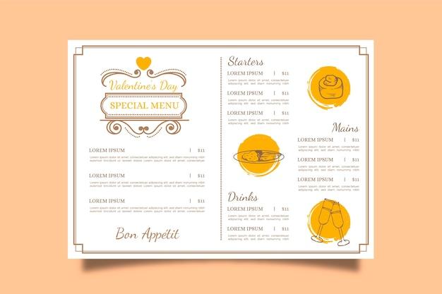 Vintage menu walentynkowe