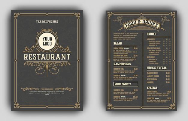 Vintage menu z klasycznymi i premium ornamentami