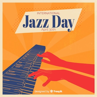 Vintage międzynarodowy dzień jazzu tło