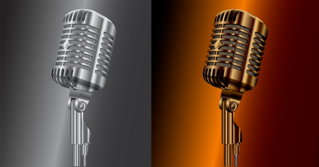 Vintage mikrofon audio. dźwięk mikrofonu studyjnego retro