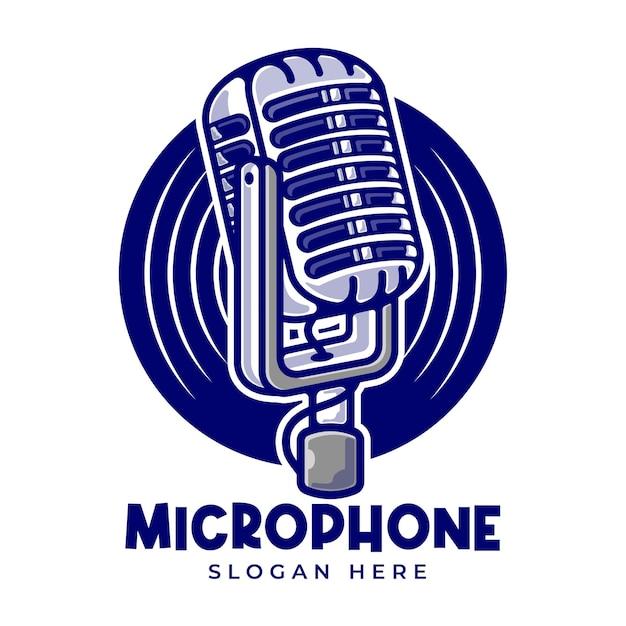 Vintage mikrofon kreskówka szablon logo