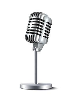 Vintage mikrofon na białym tle