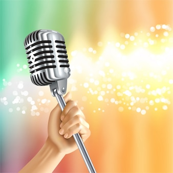 Vintage mikrofon tło światło plakat