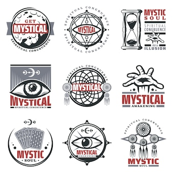Vintage mistyczne duchowe herby zestaw z napisami księżyc klepsydra mistyczne symbole biżuteria trzecie oko karty tarota na białym tle