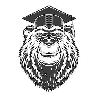 Vintage monochromatyczne absolwent głowy niedźwiedzia