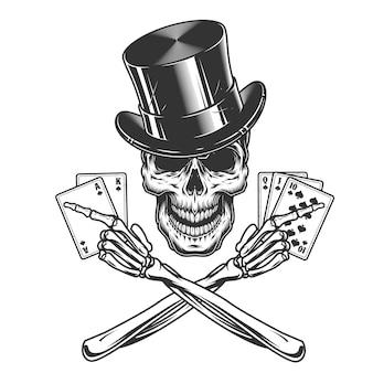 Vintage monochromatyczne czaszki w cylindrycznym kapeluszu
