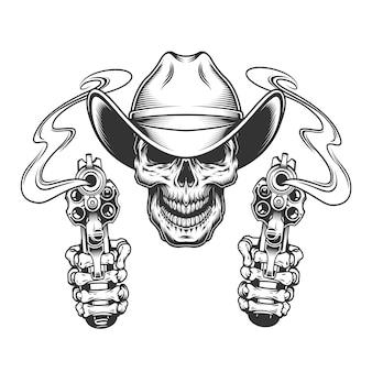 Vintage monochromatyczne czaszki w kowbojski kapelusz