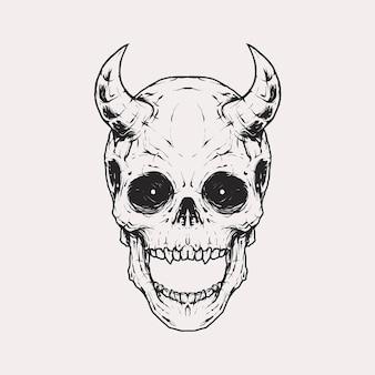 Vintage monochromatyczne czaszki z diabelskim rogiem na czole ilustracji. szablon na białym tle wektor