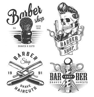 Vintage monochromatyczne etykiety dla zakładów fryzjerskich