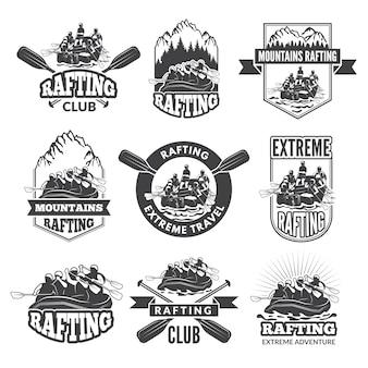 Vintage monochromatyczne etykiety do niebezpiecznych sportów wodnych.