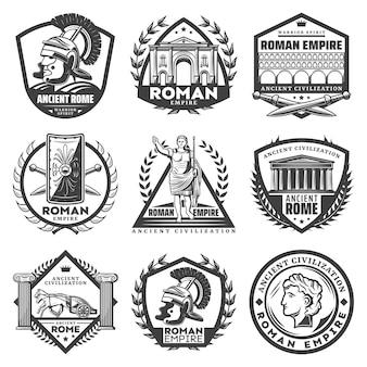 Vintage monochromatyczne etykiety imperium rzymskiego ze starożytnymi budynkami cezara