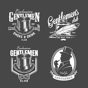 Vintage monochromatyczne etykiety klubowe dżentelmena