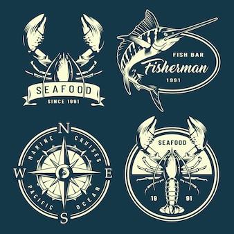 Vintage monochromatyczne etykiety morskie i morskie