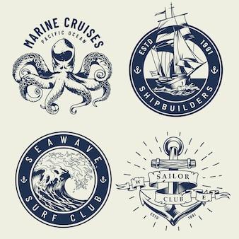 Vintage monochromatyczne etykiety morskie