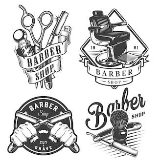 Vintage monochromatyczne herby dla zakładów fryzjerskich