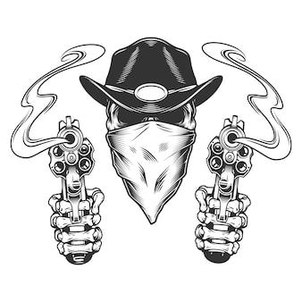 Vintage monochromatyczne kowbojskie czaszki