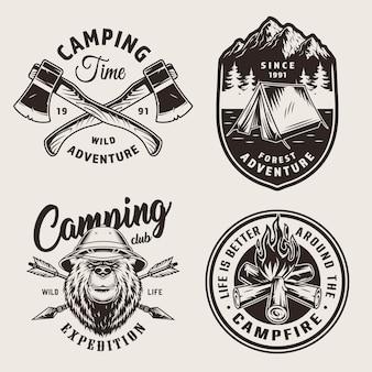 Vintage monochromatyczne logo campingowe