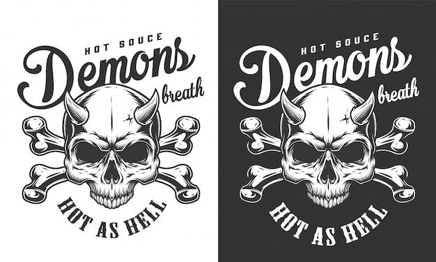 Vintage monochromatyczne logo czaszki demona
