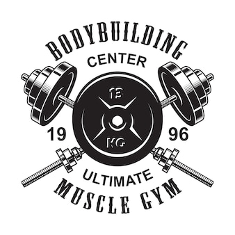 Vintage monochromatyczne logo fitness ze skrzyżowanymi sztangami i ciężarem
