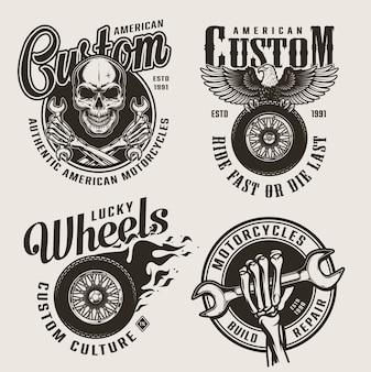 Vintage monochromatyczne niestandardowe etykiety motocyklowe