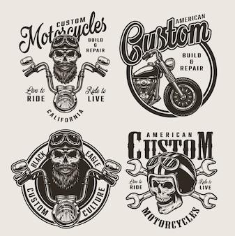 Vintage monochromatyczne niestandardowe odznaki motocyklowe