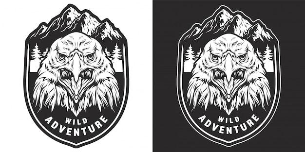 Vintage monochromatyczne odznaka dzikich zwierząt