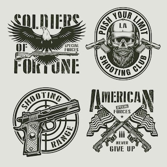 Vintage monochromatyczne odznaki wojskowe