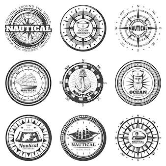 Vintage monochromatyczne okrągłe etykiety morskie zestaw
